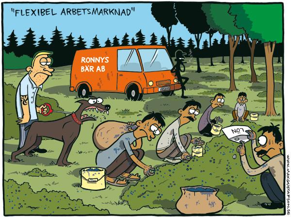 Satirteckning om global arbetskraft. Av Max Gustafson