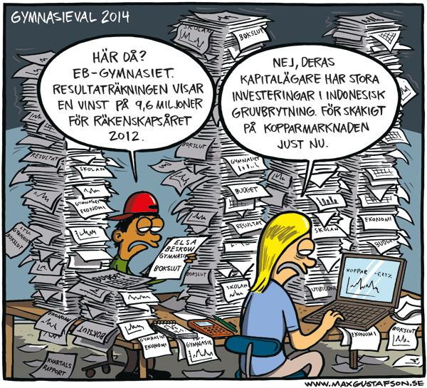 Satirteckning om friskolor. Av Max Gustafson.