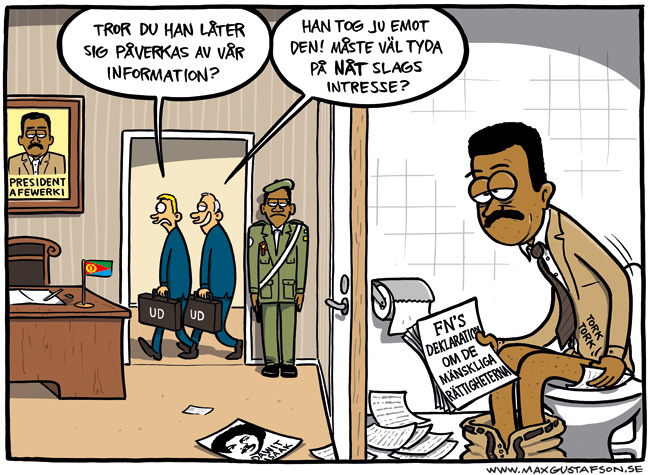 Satirteckning åt Tecknare för Dawit-kampanjen. Av Max Gustafson.