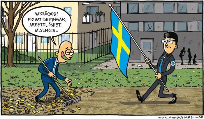 Bereden väg för Jimmie. Satirteckning av Max Gustafson.