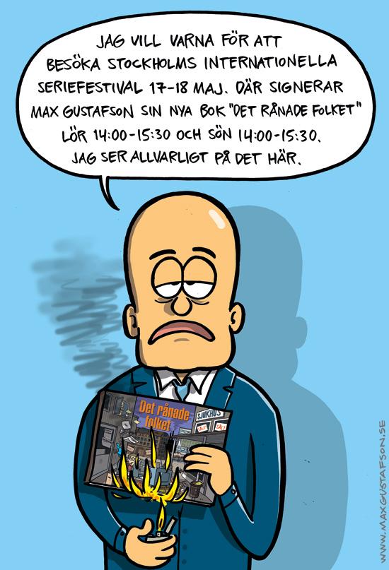 Max Gustafson signerar sin bok Det rånade folket.