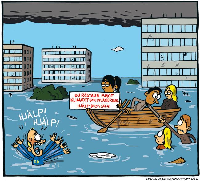 Nästa gång är det du som behöver hjälp. Satirteckning av Max Gustafson.